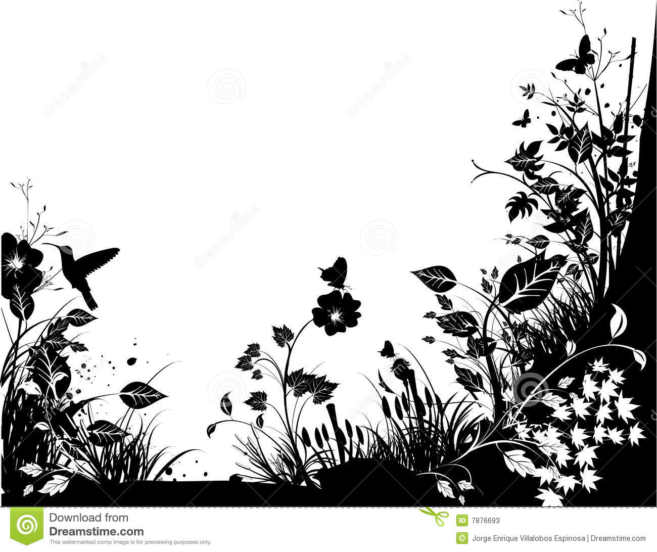 Black And White Nature Illustration Over A White Background