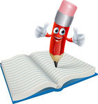Cartoon Pencil Man Writing In Book Clip Art