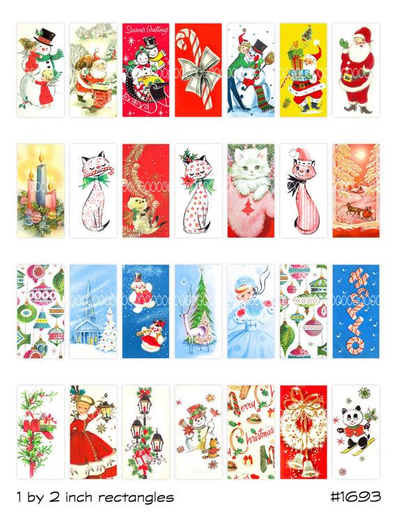 Christmas Clipart Instant Download Domino Pendant Santa Claus