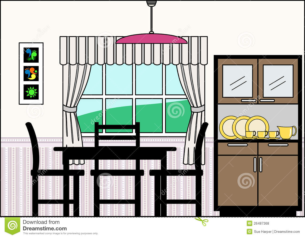 Clip Art Kitchen Table Dining Room With Furniture And