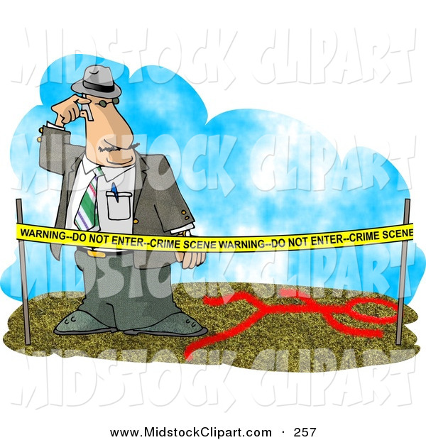 Clip Art Of A Confused Crime Scene Investigator Investigating A Murder