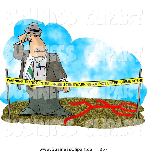 Clip Art Of A Crime Scene Investigator Person Investigating A Murder