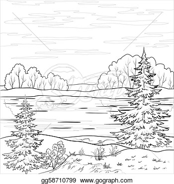 Clip Art Vector Vector Landscape Forest River And Sky With Clouds