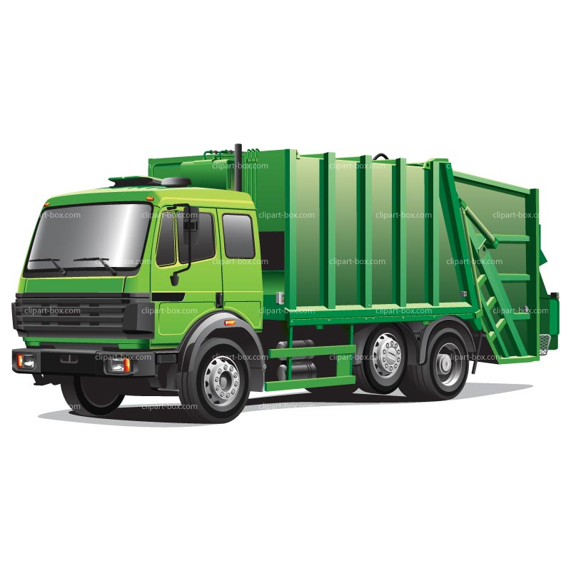 Clipart Green Garbage Truck   Royalty Free Vector Design