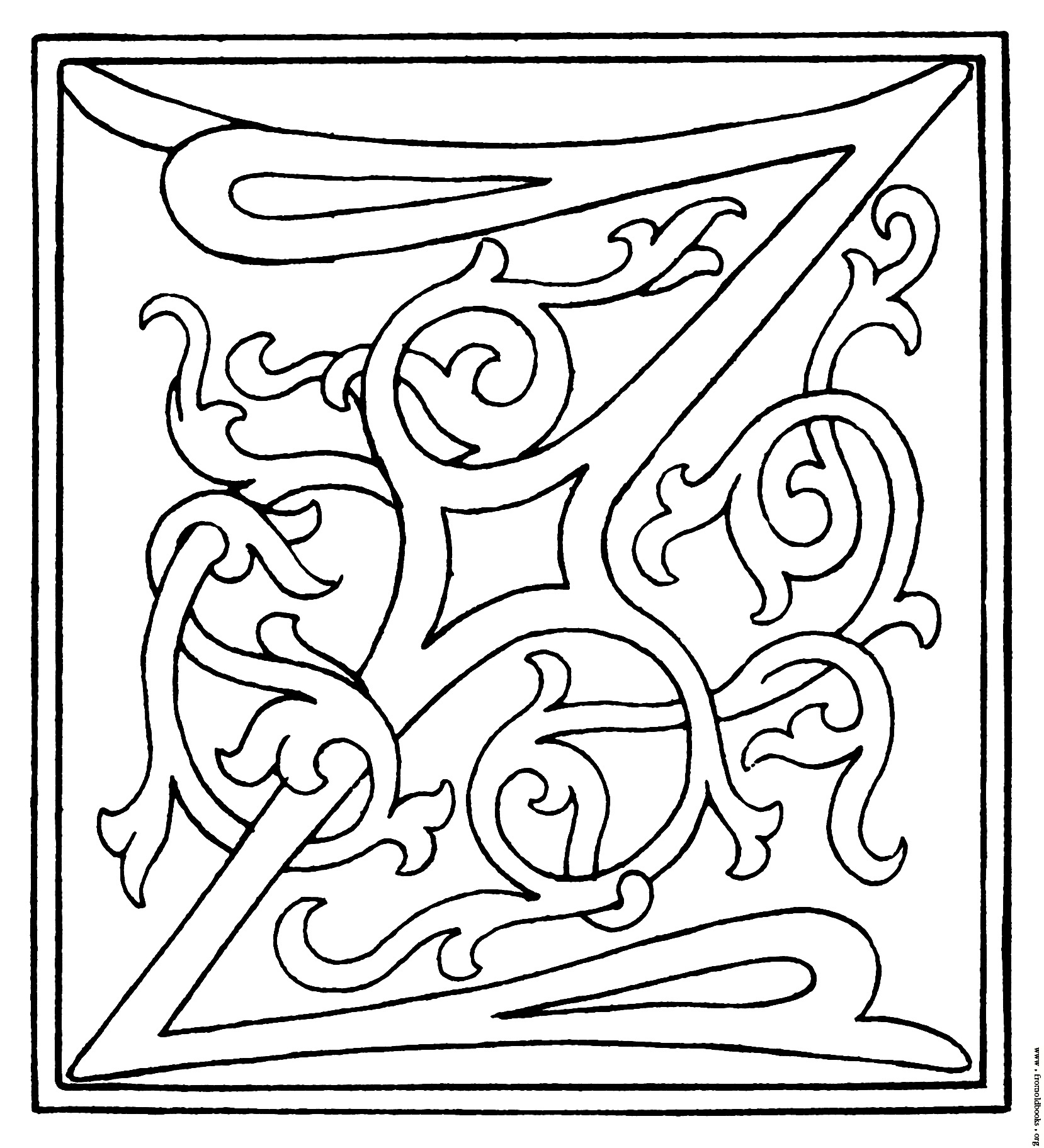 Clipart  Initial Letter Z From Late 15th Century Printed Book