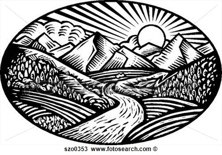 Drawing   Nature Scene B W  Fotosearch   Search Clipart Illustration