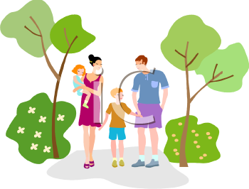 Family Walking Through The Park   Royalty Free Clip Art Picture