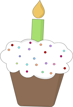 Fun Birthday Cupcake Clip Art Image   Chocolate Birthday Cupcake With