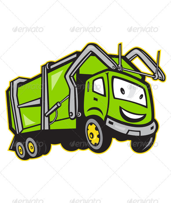 Garbage Rubbish Truck Cartoon 3533436 Stock Vector Miscellaneous Truck