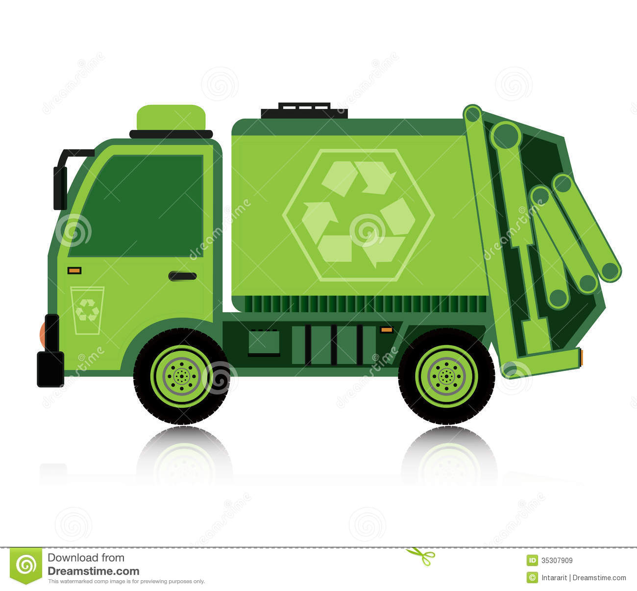 Garbage Truck Vector Art Garbage Truck With A White