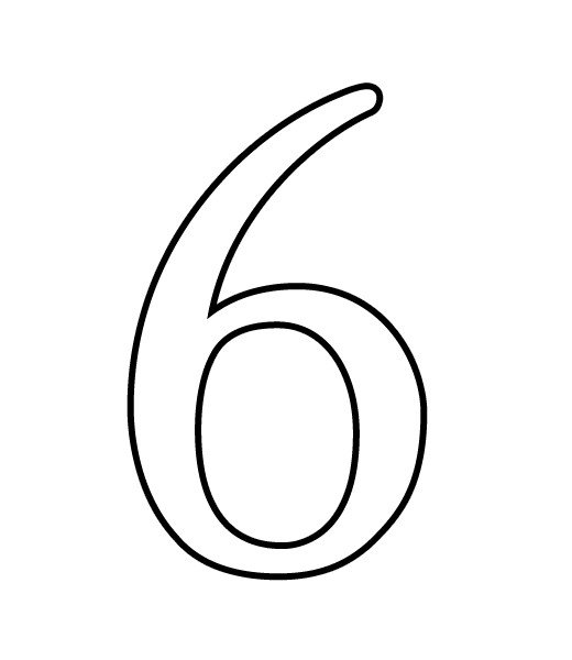 Black And White Number 6 Clipart