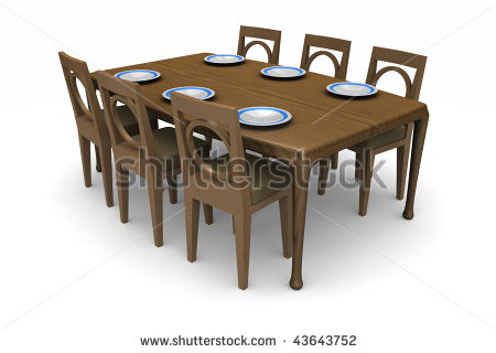 Set Of Dining Room Table And Chairs With Dinner Plates On The Table