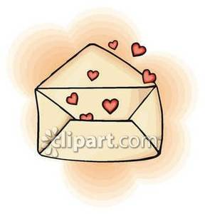 Small Red Hearts In An Envelope   Royalty Free Clipart Picture