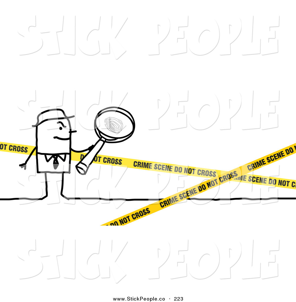 Smiling Stick People Character Investigator Inspecting A Crime Scene