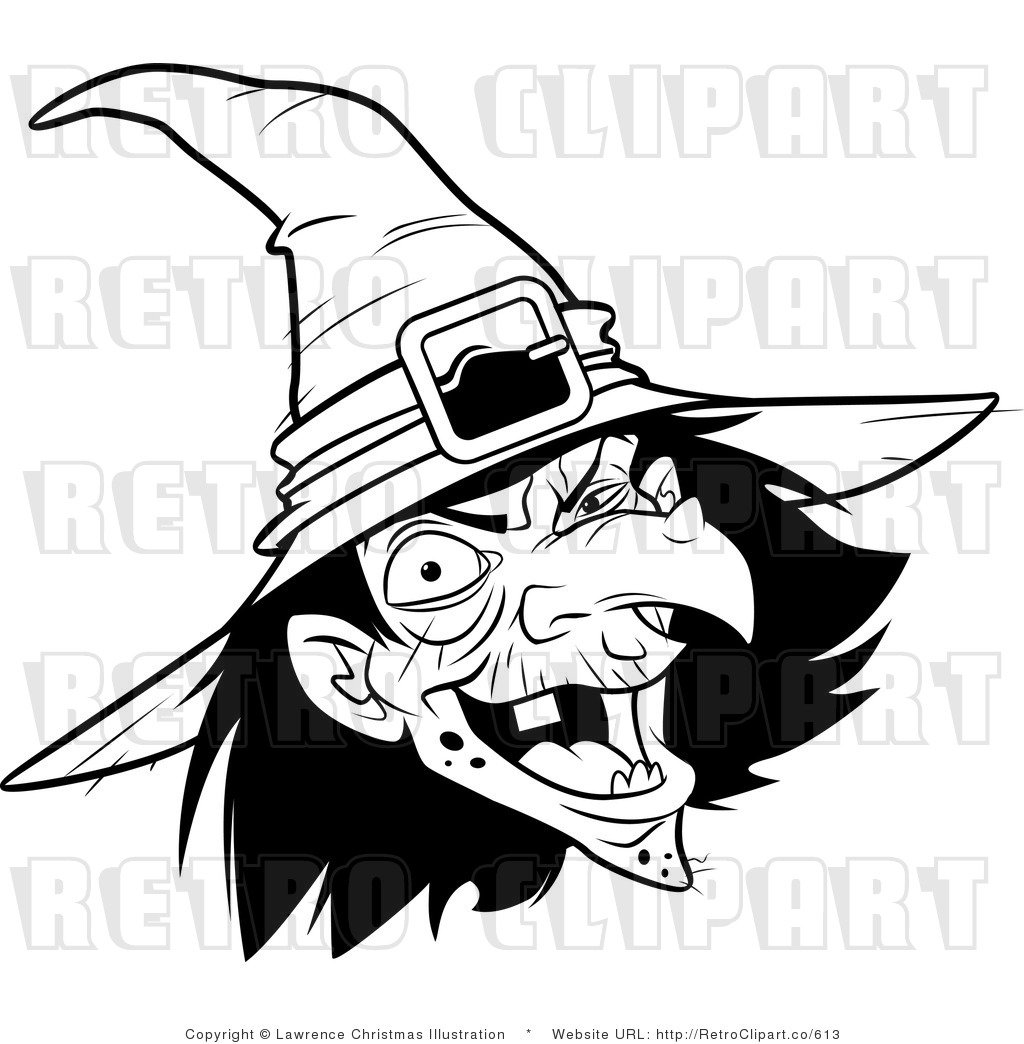 Wart Clipart Black And White Witch Retro Royalty Free Vector Clipart