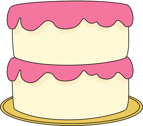 White Cake With Pink Frosting Clip Art   White Cake With Pink Frosting