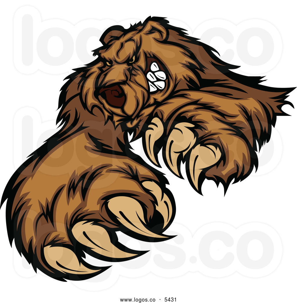 Bear Clipart Royalty Free Vector Of A Logo Of A Clawing Angry Bear