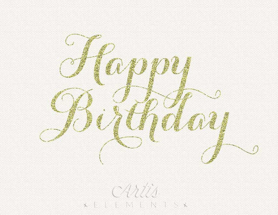 Birthday Gold Glitter Calligraphy Script   Digital Overlay Clipart
