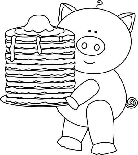 Black And White Pig With Pancakes Clip Art   Black And White Pig With