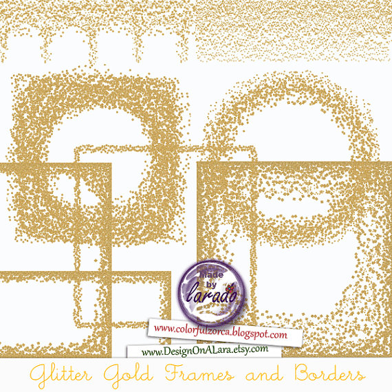 Borders Clipart Digital Glitter Gold Overlay Confetti Gold Glitter