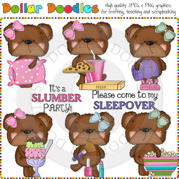 Bossy Bear Slumber Party Clip Art Download Cheryl Seslar Graphics