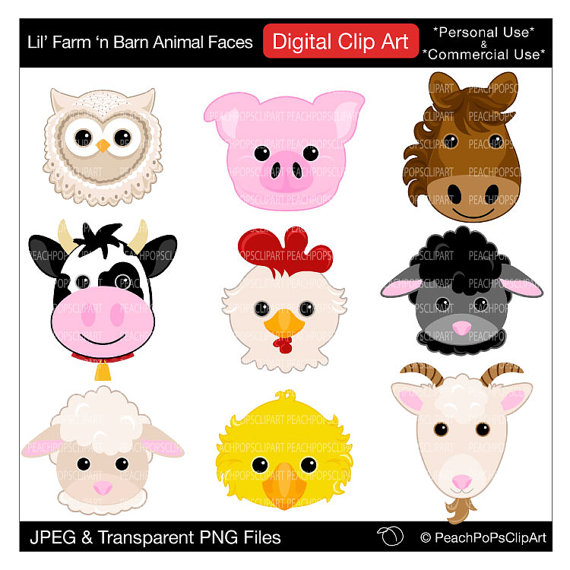 Clip Art Digital Clipart Pig Horse Cow Sheep   Lil Farm N Barn Animal