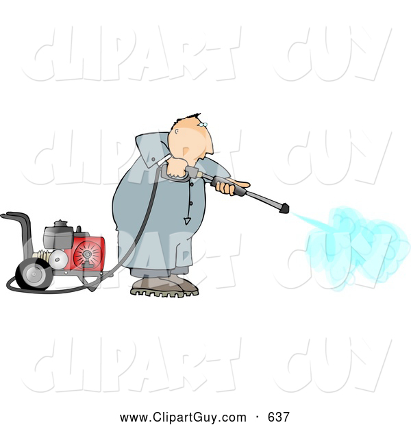 Clip Art Of Afriendly Man Cleaning With A Heavy Duty Gas Powered