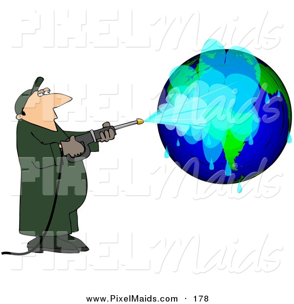Clipart Of A Worker Man Pressure Washing A Globe On White By Djart
