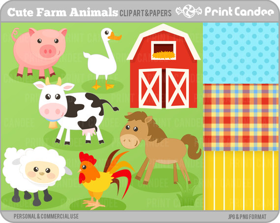 Cute Farm Animals   Digital Clip Art   Personal And Commercial Use