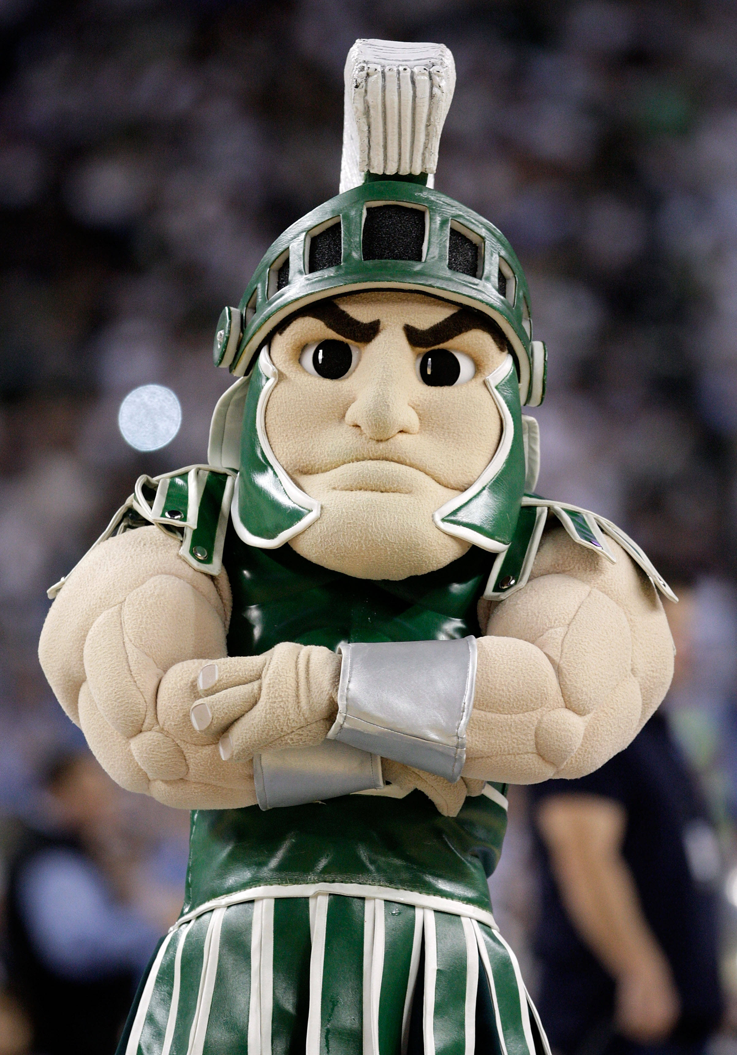 File Sparty The Mascot For The Michigan State Spartans Looks On In The