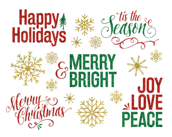 Glitter Christmas Clipart Overlays   Holiday Christmas Photo Overlays
