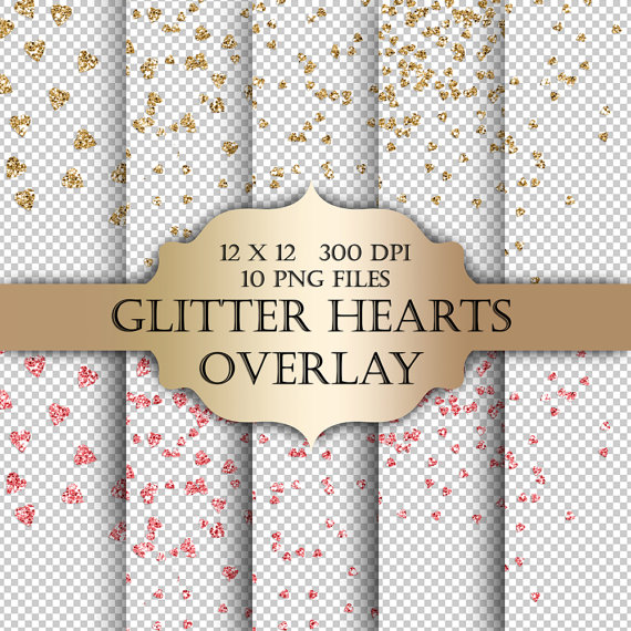 Glitter Hearts Digital Clip Art Overlay   Valentines Hearts Gold