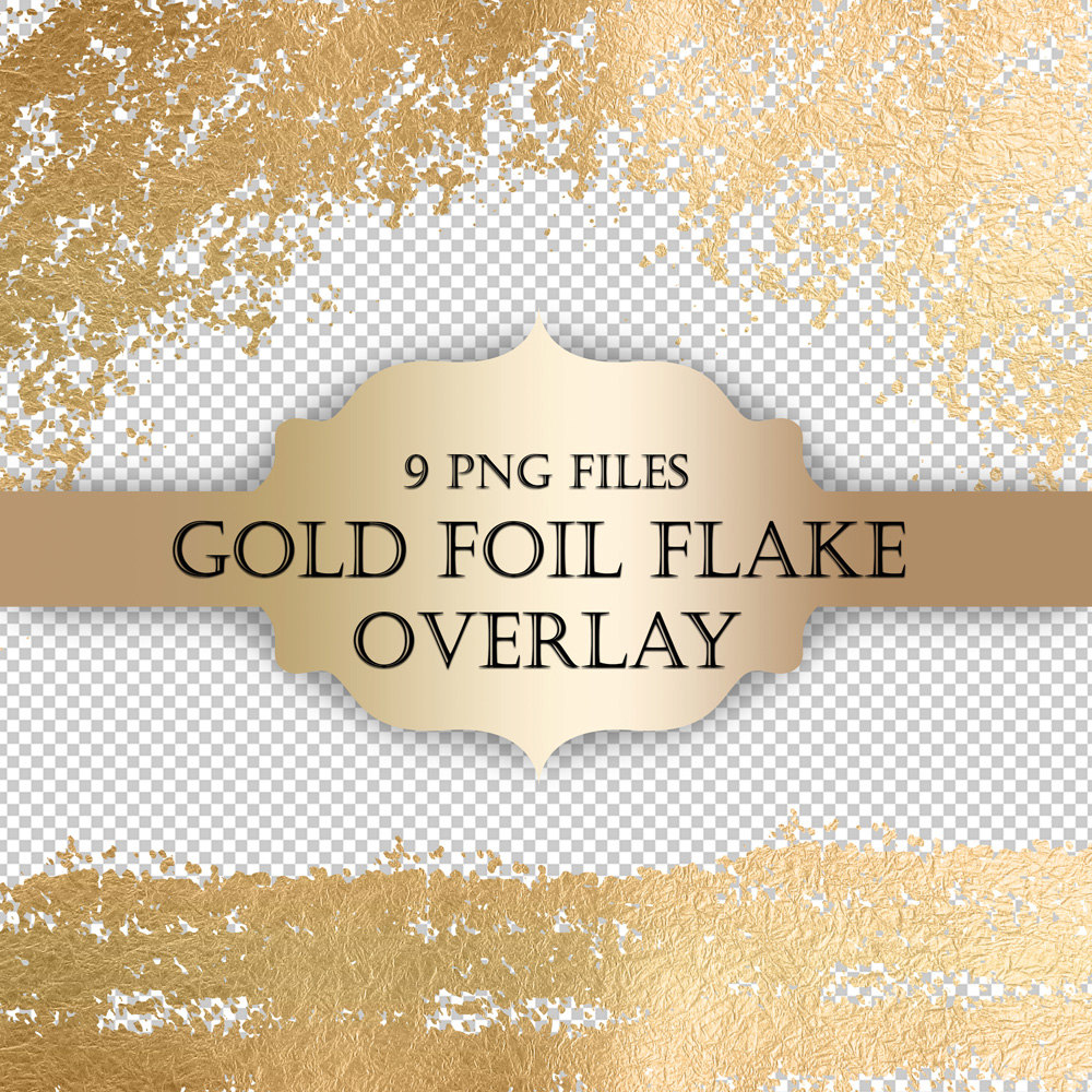 Gold Foil Flake Digital Clip Art Overlay   Gold Foil Glitter Flake