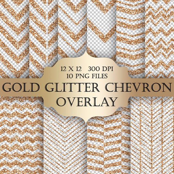 Gold Glitter Chevron Digital Clip Art Overlay   Chevron Glitter