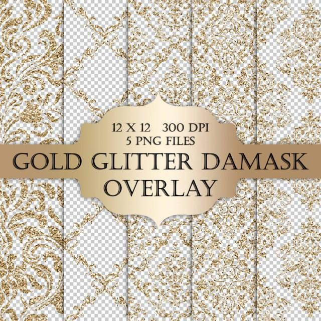 Gold Glitter Damask Digital Clip Art Overlay Damask Glitter Metallic
