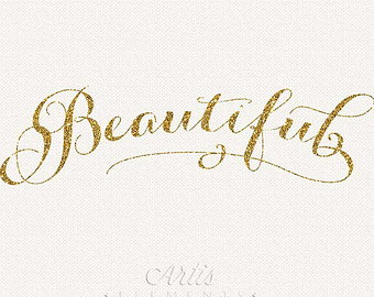 Gold Glitter Script   Pri Ntable Digital Photo Overlay Typography Clip