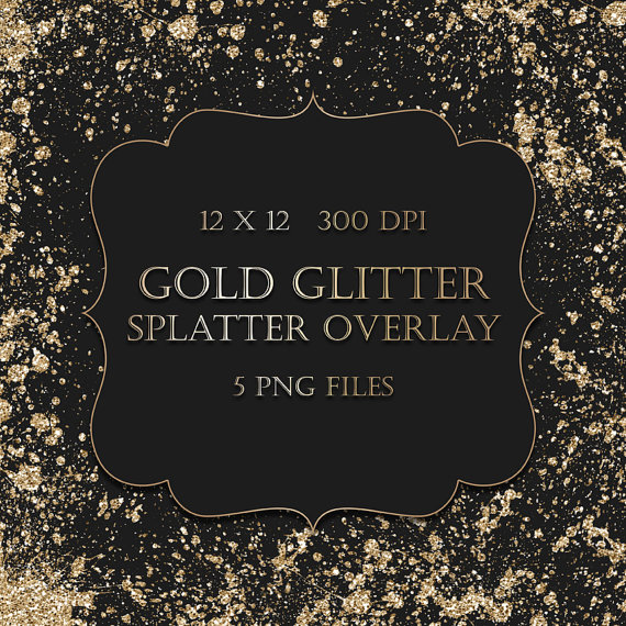Gold Glitter Splatter Clipart Overlay   Gold Glitter Watercolor