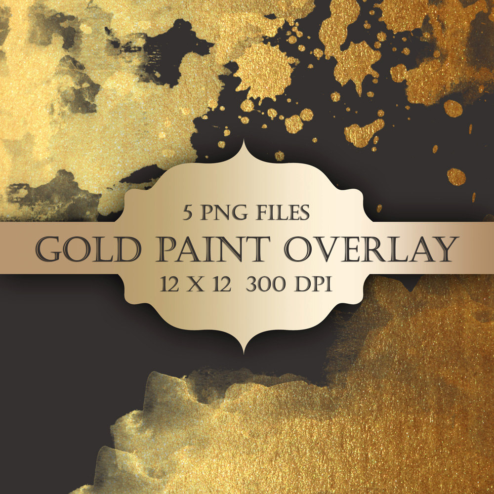 Gold Paint Digital Clip Art Overlay   Gold Glitter Watercolor Metallic
