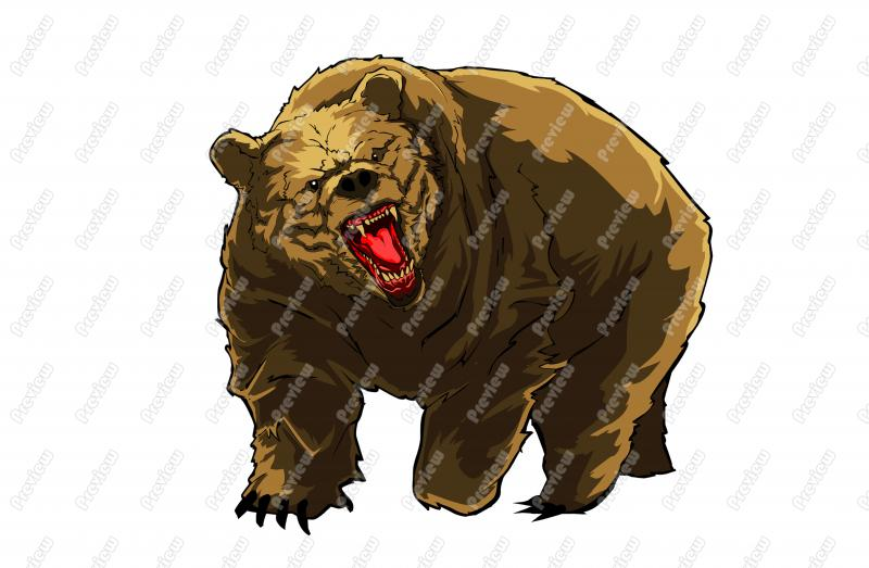 Grizzly Bear Character Clip Art   Royalty Free Clipart   Vector