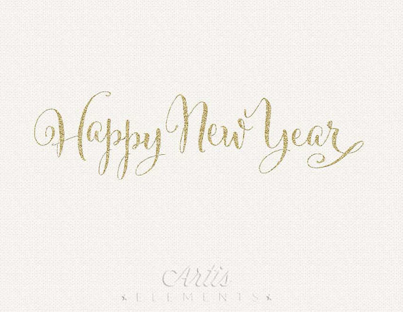 Happy New Year Clipart Gold Glitter Script   Digital Photo Overlay