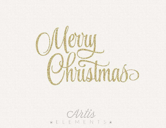Merry Christmas Glitter Script Silver Gold   Digital Overlay Clipart