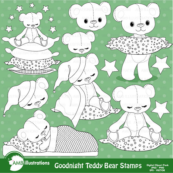 Off Teddy Bear Stamps Nursery Slumber Party Stamps Baby Boy Bear