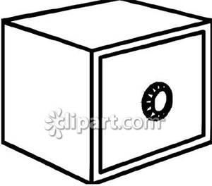 Simple Black And White Safe   Royalty Free Clipart Picture