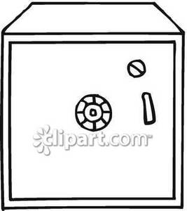 Square Black And White Safe   Royalty Free Clipart Picture