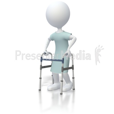Stick Figure Patient With Walker   Medical And Health   Great Clipart