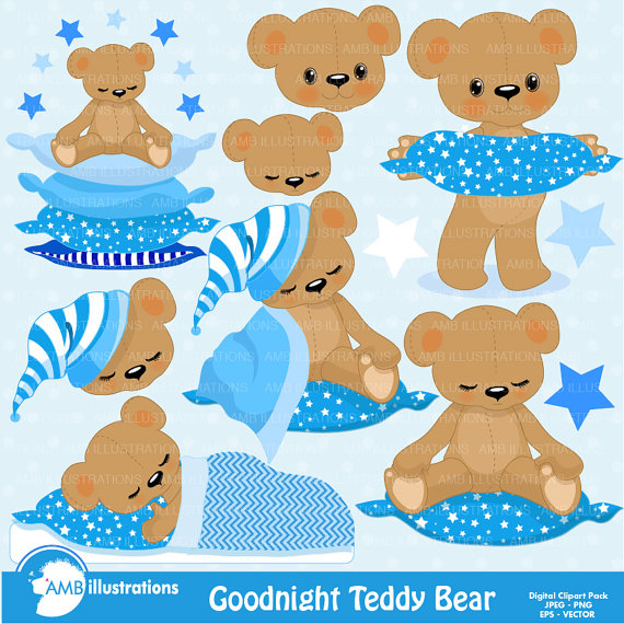 Teddy Bear Nursery Slumber Party Baby Boy Bear Digital Clipart