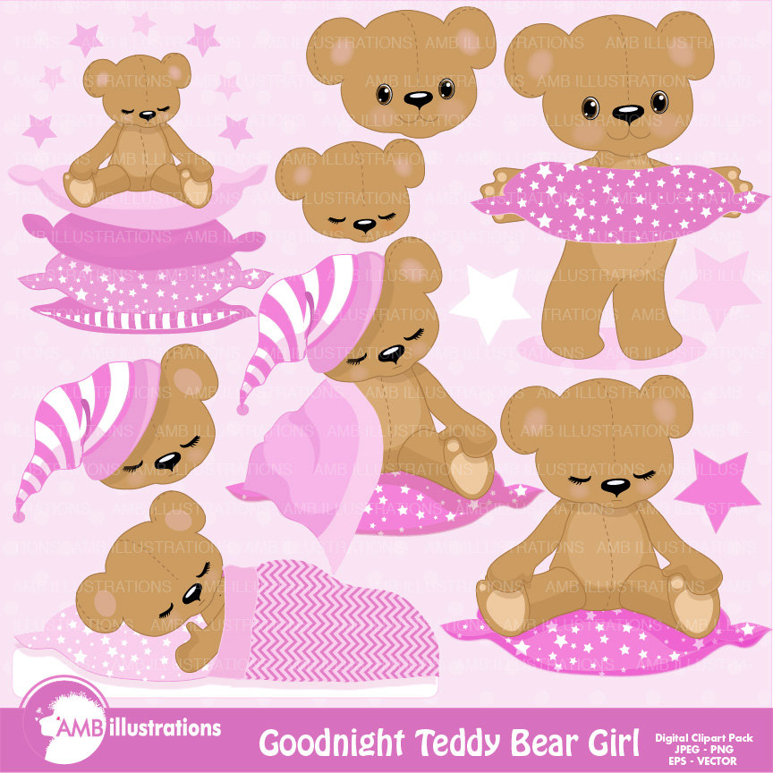 Teddy Bear Nursery Slumber Party Baby Girl Bear Digital Clipart