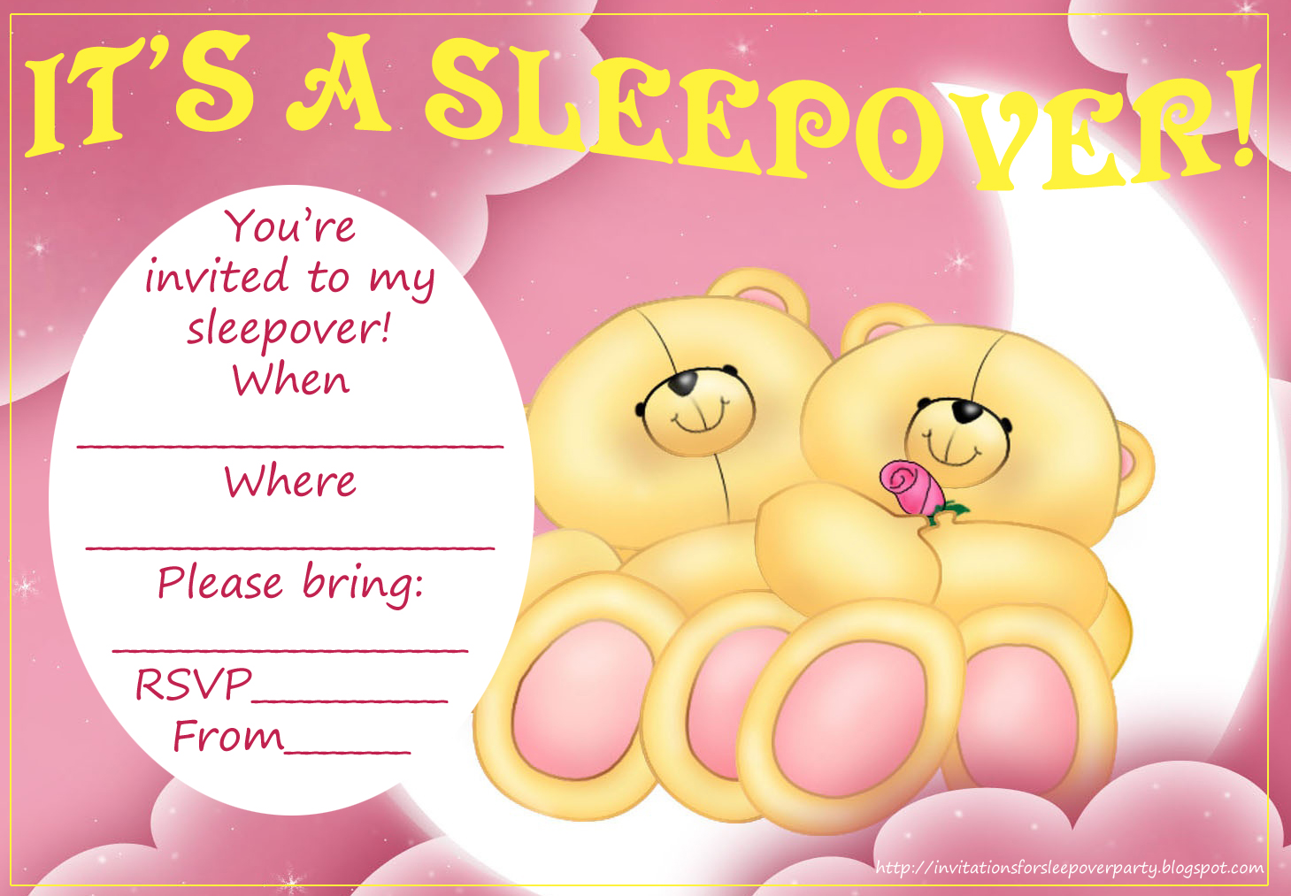 Teddy Bear Party Invitations For A Sleepover