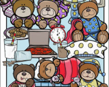 Teddy Bear Sleepover Clip Art Set   Chirp Graphics