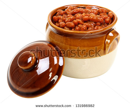 Baked Beans In Pot Isolated On White Background   Stock Photo